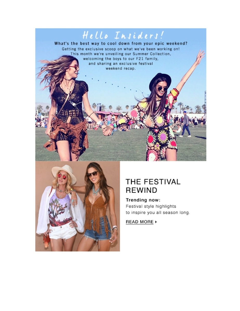 Forever 21 April Insider Email Copy
